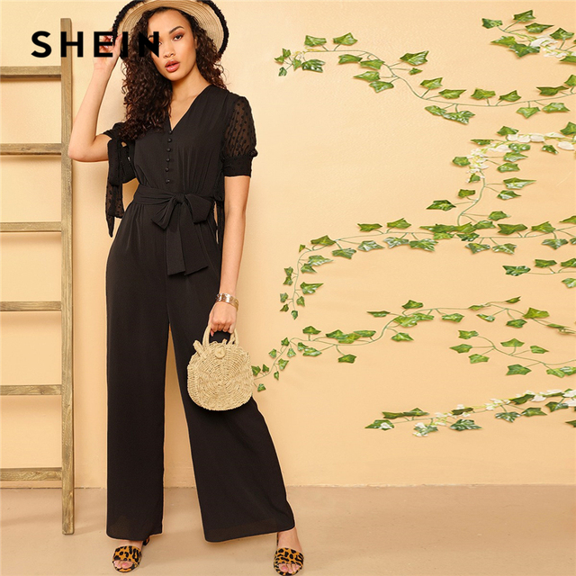 d65ab7029 SHEIN Boho Black Knotted Sleeve Half Placket Palazzo Belted Jumpsuit Women  Summer Solid High Street Casual Wide Leg Jumpsuits
