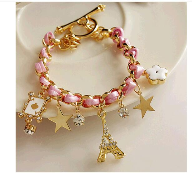New Fashion Tower Poker Stars flowers leather cord bracelet Leather Rope Imitation Crystal Handmade Women Bracelet image