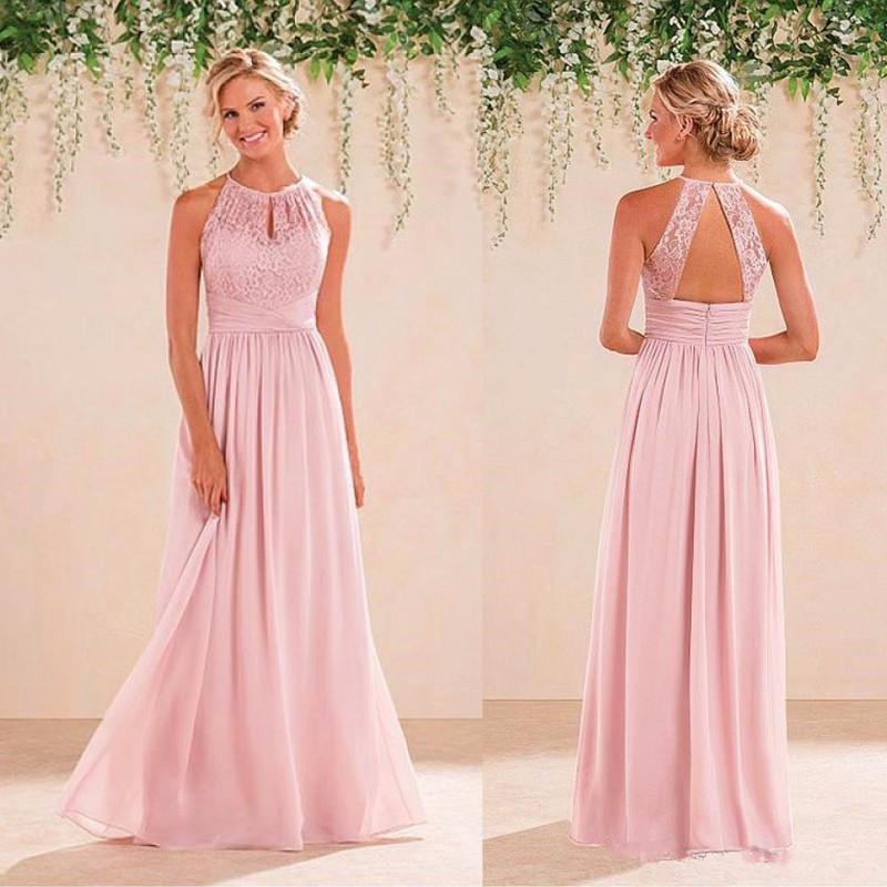Vestido de encaje de color rosa vestidos de dama de honor vestido de ...