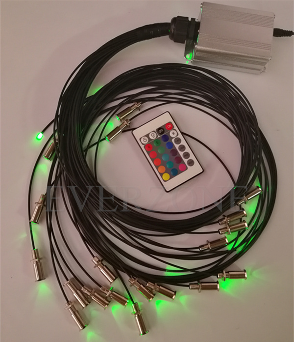 5w LED Illuminator 2mm Fiber Optic Light Strands 32pcs Length 0.5m+1m+1.5m+2m With 5pcs Buried End Fittings