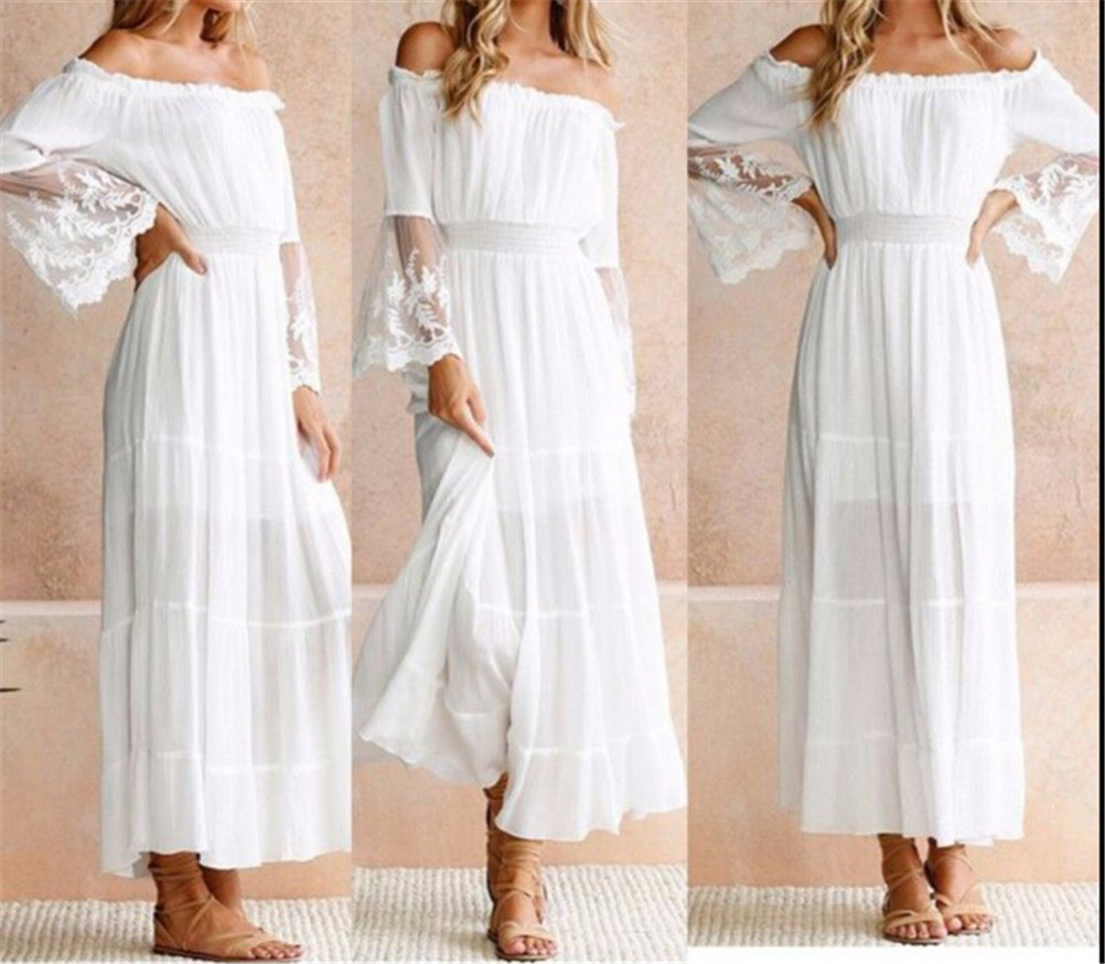 Summer Sundress Women White Beach Dress Strapless Long Sleeve Loose Sexy Off Shoulder Lace Boho Cotton Maxi Long  Dress
