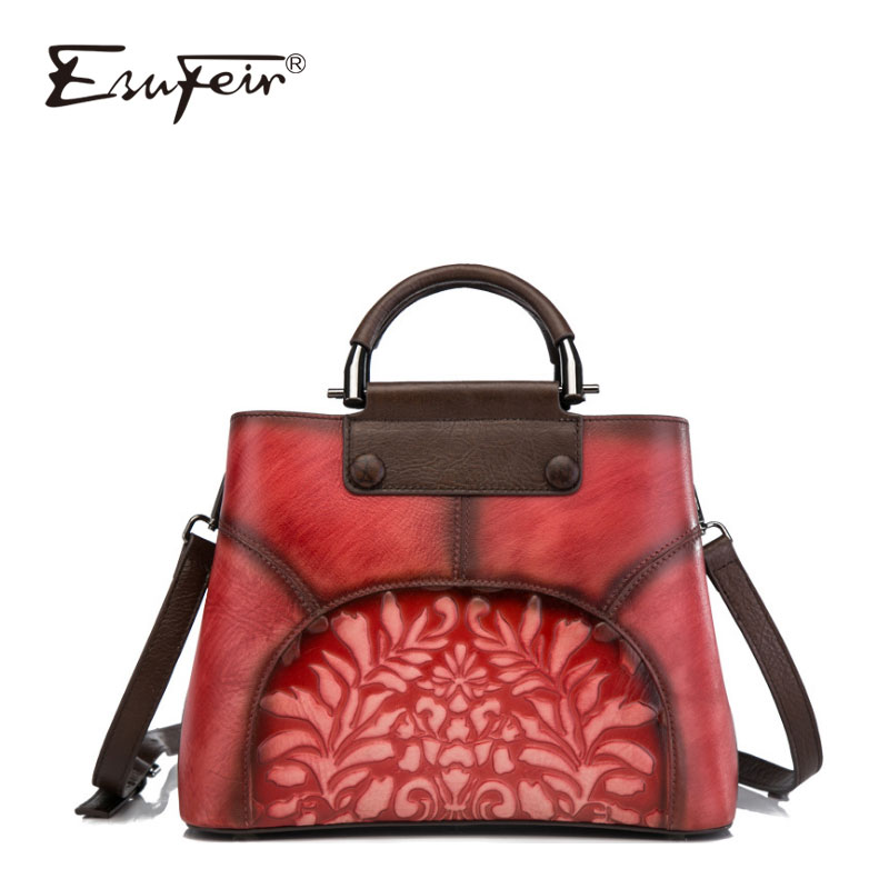 ESUFEIR New Embossed Genuine Leather Women handbag Vintage Shoulder Bag Patchwork Messenger Bag Designer Casual Small Square BagESUFEIR New Embossed Genuine Leather Women handbag Vintage Shoulder Bag Patchwork Messenger Bag Designer Casual Small Square Bag