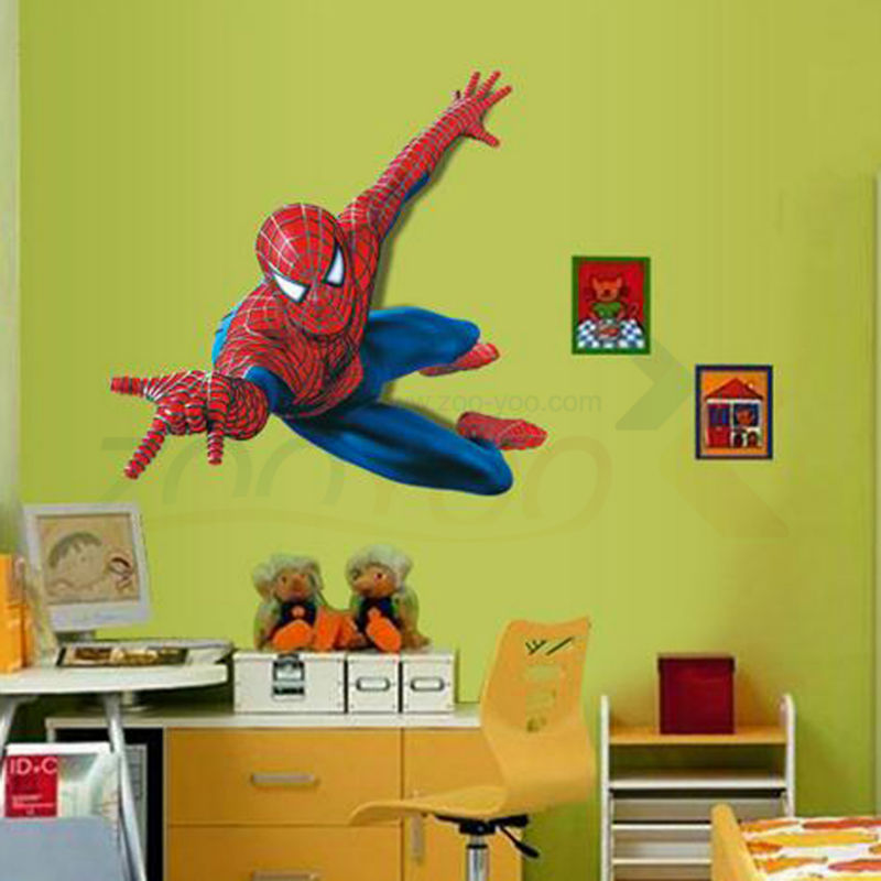 Us 3 15 27 Off Superman Spiderman Giant Wall Stickers Adhesive For Children Room Wall 3d Sticker Spider Man Decoration Decals Kids Room Decor In