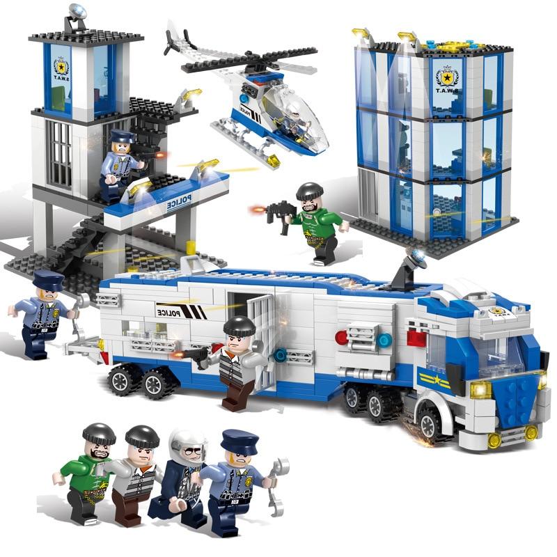 1002pcs Children s building blocks toy Compatible city Police chasing jailbreak fugitives figures Bricks birthday gifts
