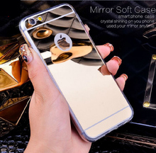 Luxury Plating Mirror Soft TPU Silicon Case For iphone 7 6 6S / 7 6 6S Plus 5 5S Back Cover Phone Bag Cases