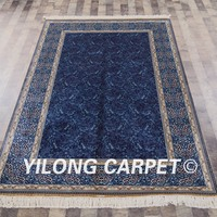 Yilong 5'x8' Handmade Persian Blue Rugs Exquisite Turkish Square Silk Carpet (YWX073A5x8)