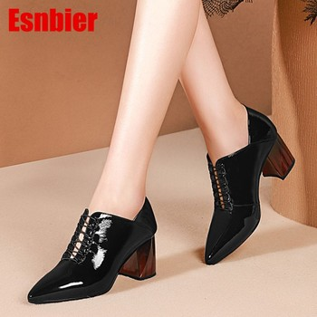 2019 women pumps autumn spring Cow leather square heel black color pointed toe high heels lady shoes party size 34-42