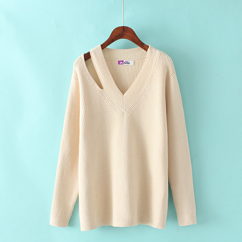 hd1bAutumn and winter fashion Korean version of the new women loose wild V neck solid color