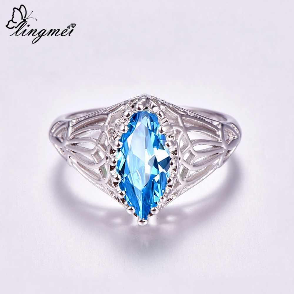 Lingmei ขายส่งหมั้น Marquise ตัด Blue & Green Cubic Zircon แหวนเงิน 925 ขนาด 6 7 8 9 10 11 12 13 Gorgeous