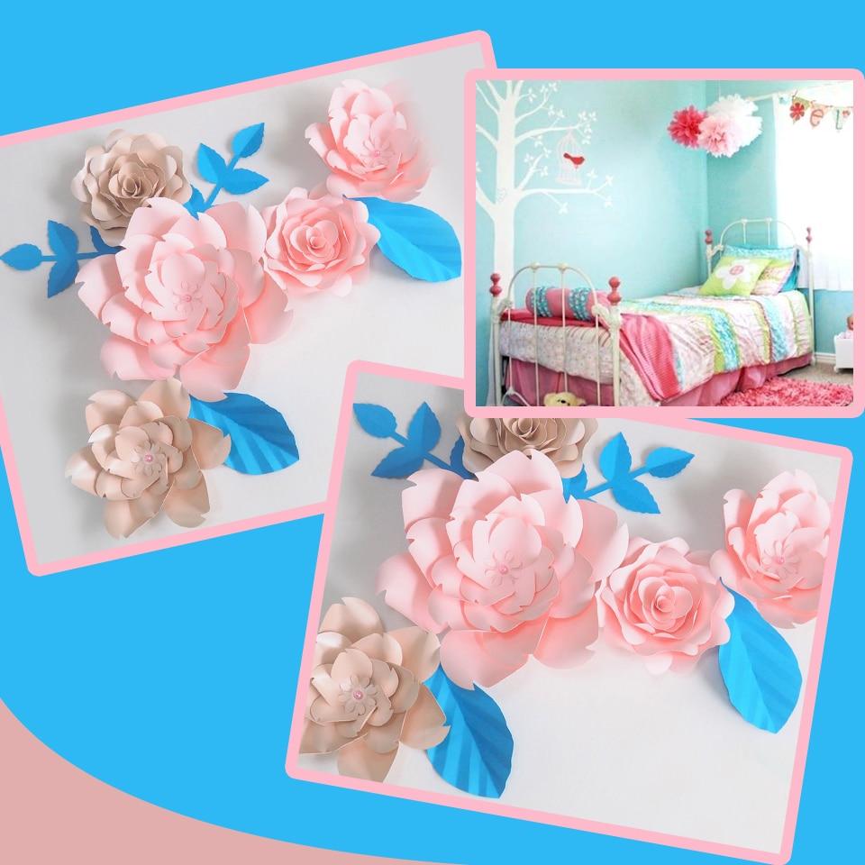 Us 32 45 35 Off Diy Giant Paper Flowers Artificial Rose Fleurs Artificielles Backdrop 5pcs 4 Leave Bedroom Wall Deco Economic Light Pink In