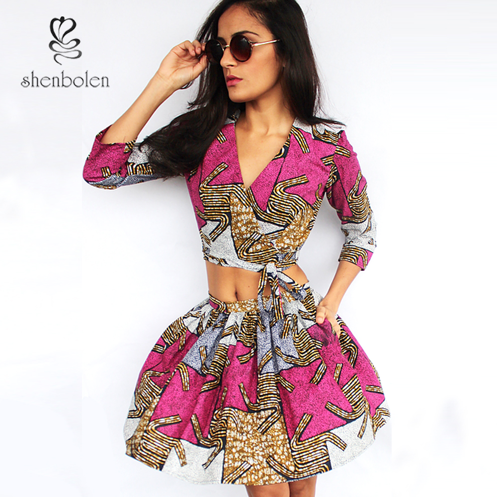 Africa Clothes for women Ankara Print sexy top +skirt set for girls beautiful two pieces set