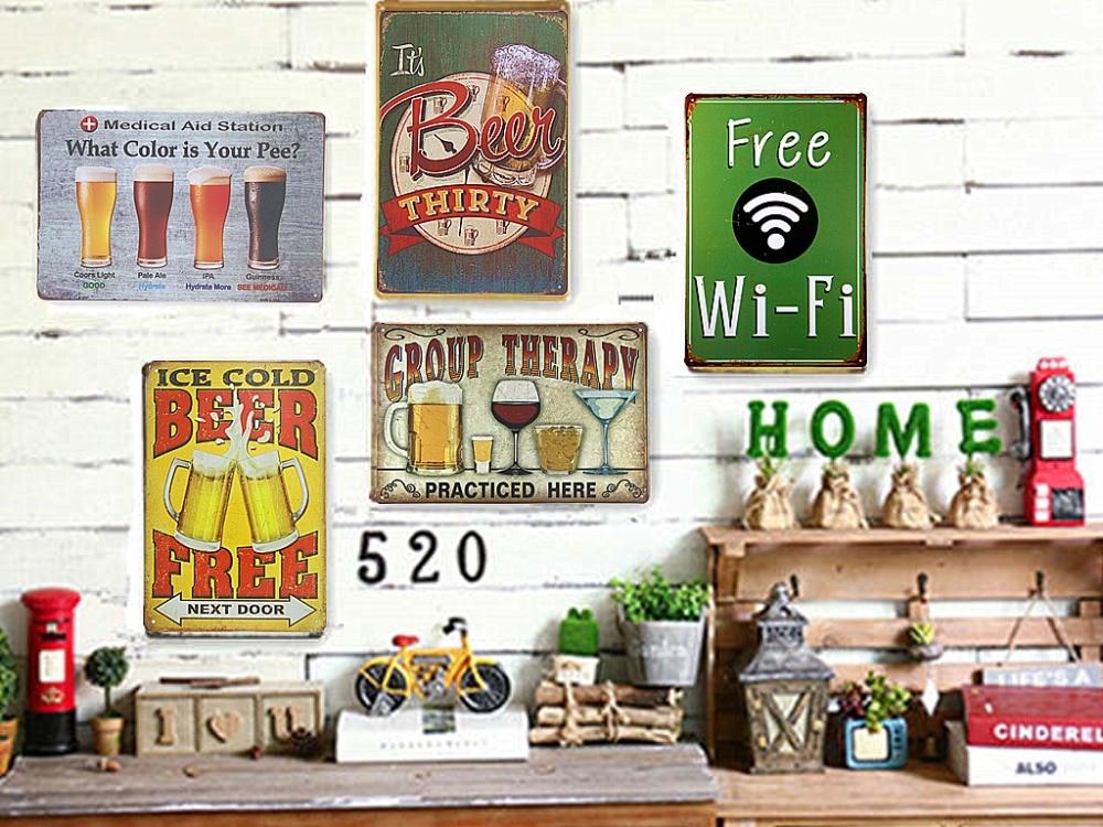 Vintage Kovové / Plechové cedule Pivní cedule Art Plakát Kancelář Hospoda Restaurace Dekorativní Bar Decor, Man Cave