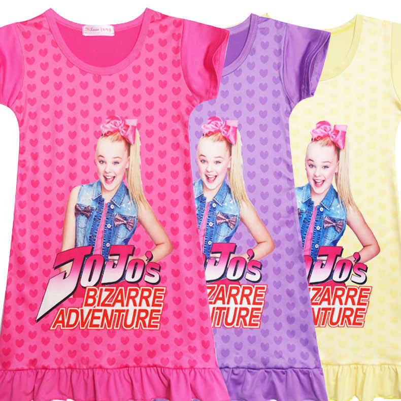 72d8bd03193 Girl Kids Long Dress Jojo Siwa Cosplay Costume Bizarre Adventure European Short  Sleeve Children Child Skirt
