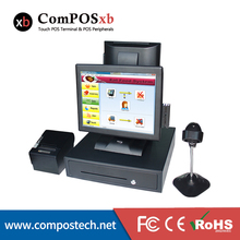 Dual screen pos system 15 inch pos touch all in one pc cash register pos point of sale high quality pos