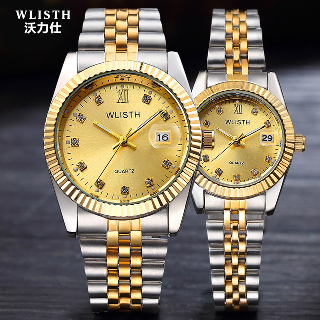2018 WLISTH Luxury Gold Watch Lady Men Lover Stainless Steel Quartz Waterproof Male Wristwatches for men Analog Auto date clcok 1