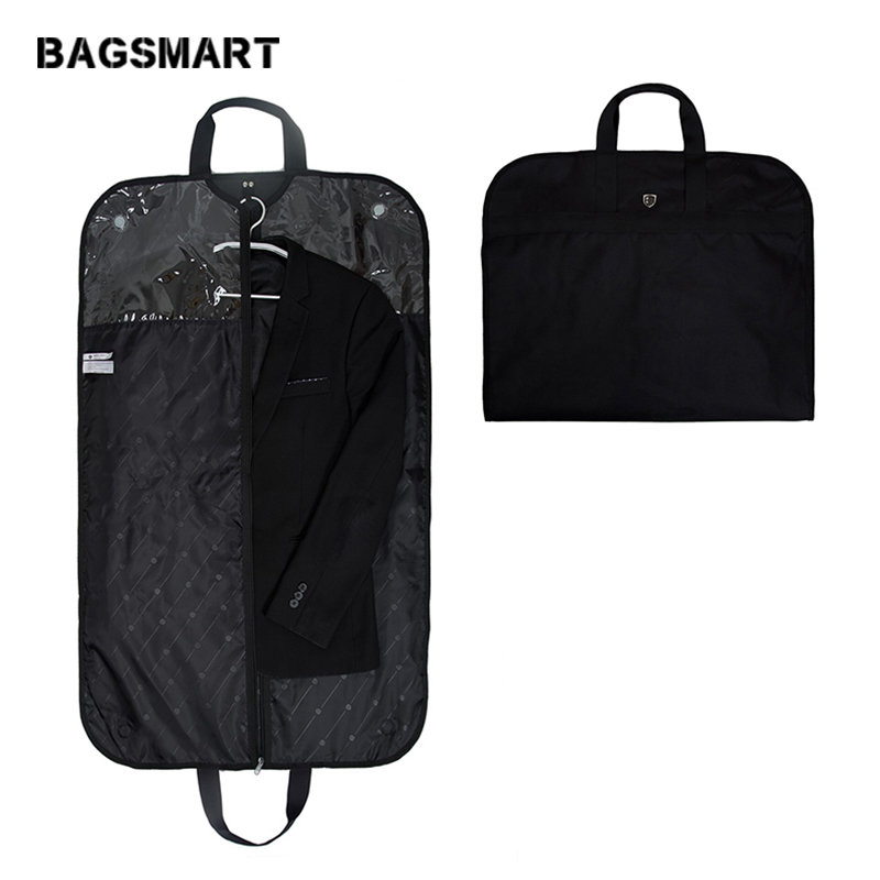 BAGSMART Lightweight Black Garment Bags Nylon Suit Bag Business Dress With Hanger Clamp Waterproof Men's Suit Travel Bags