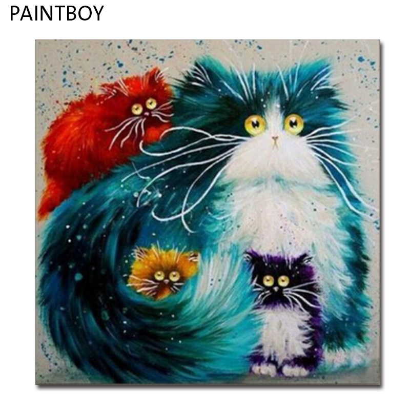 """PAINTBOY תמונה מודרנית ציור שמן על בד ציור תמונות ממוסגרות DIY בית תפאורה של חתול לבן GX3805 40*50 ס""""מ"""
