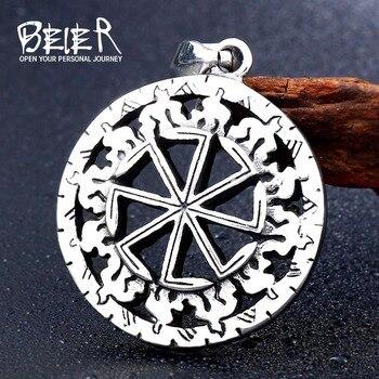 Beier 316L stainless steel Kolovrat Handmade Pendant Necklace Slavic