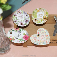 100Pcs Handmade Labels Tags Flower Wreath Hand Made Stickers Made Papel Kraft Paper Tags For Gift
