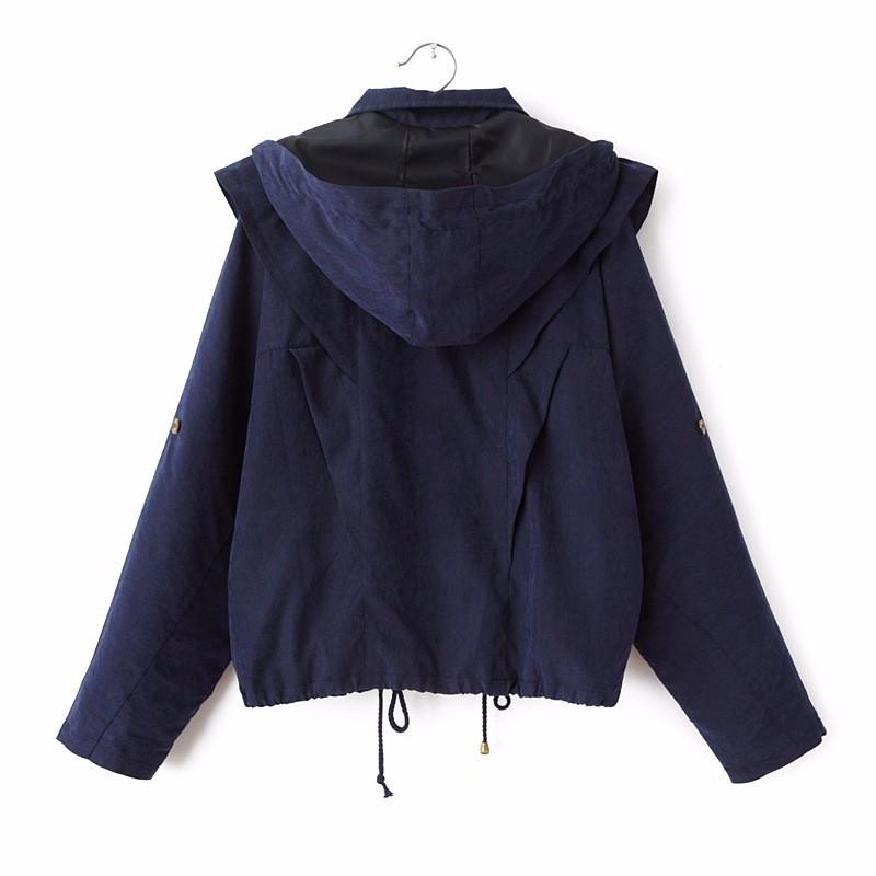 Hooded Trench Coat Women 2015 Autumn Female   Plus Size Casual Windbreaker Outwear Coat  2016