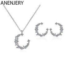 ANENJERY set di gioielli in argento Sterling 925 orecchini a forma di luna irregolare con zircone dolce Flash per regalo donna