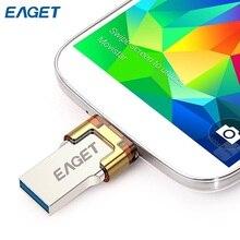 Eaget v80 16 gb 32 gb 64 gb otg de metal usb 3.0 flash drive 64 GB Pen Drive Pendrive Pendrives OTG USB 32g para Android Smartphone