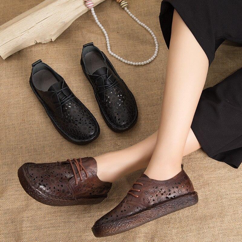 kopf weichen sandalen boden neue retro frauen tasche loch art schuhe schwarzbraun handgefertigte leder 2512 kelly hohl ChxsrtQd