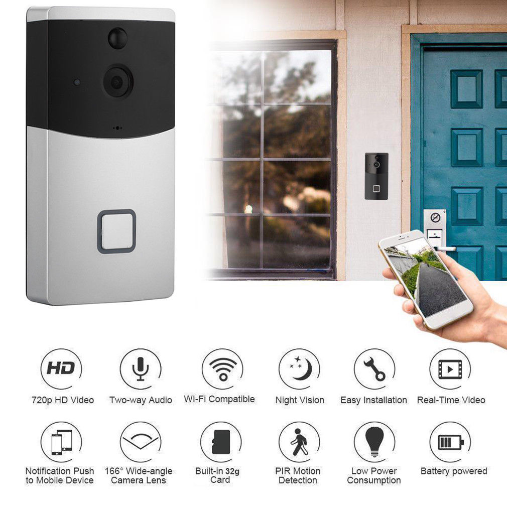 Smart WIFI Video Doorbell 720P HD 166 Degree Wide Angle Camera Lens Two Way Talk Night Vision PIR Motion Dection