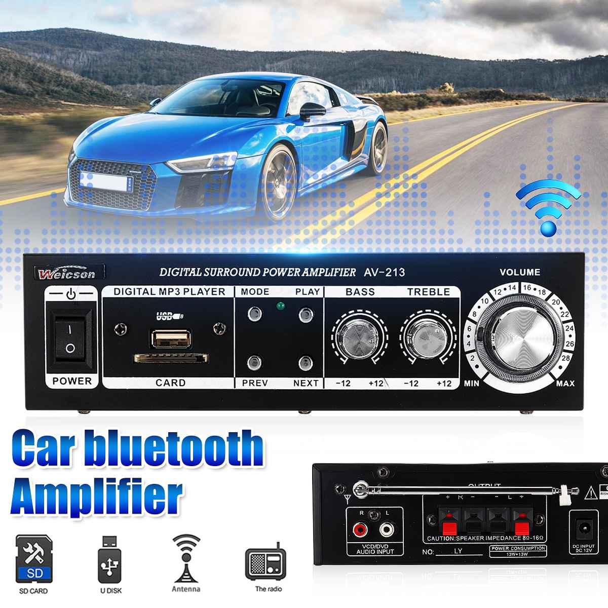 Amplifier-Board Bluetooth Audio-Amp Hifi Home Theater for Car U-Disk Fm-Radio
