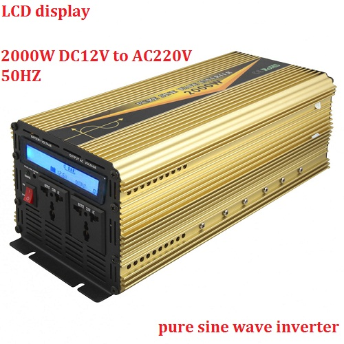 lcd display 4000W Peak power 2000W rated power Pure Sine Wave Inverter DC 12V TO AC220V 240V 50hz/60hz for home solar system