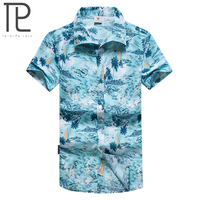 Tailor Pal Love Summer Hawaiian Men Short Sleeve Beach Shirts Floral Printed Camisa Masculina M 5XL