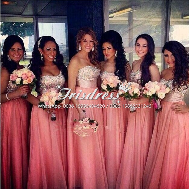 Sparkly Crystals Plus Size Bridesmaids Dresses 2017 A Line Long Chiffon Beach Country Maid Of Homors Robe Demoiselle D'honneur