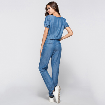 ESCALIER Womens Denim Jumpsuit Blue Long Pants 2018 Fashion Loose Tencel Playsuit Plus Size Women Clothing S-3XL Working Rompers 1