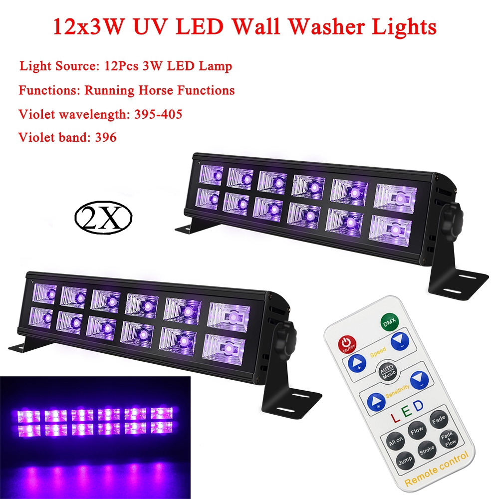 2Pcs/Lot  Double row UV Color 30W LED Wall Washer Light Have Running Horse Functions For Modern Wedding Christmas Stage Lighting2Pcs/Lot  Double row UV Color 30W LED Wall Washer Light Have Running Horse Functions For Modern Wedding Christmas Stage Lighting
