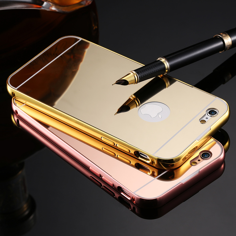 i6 4.7/Plus Mirror Back Capa Slim Luxury Hybrid Metal Aluminum Frame Case For iPhone 6 6 ...