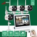4ch p2p 720 p 12 ''lcd monitor wi-fi nvr anran 3 matriz IR Ao Ar Livre Sistema de CFTV de Vigilância Câmera de 1.0 MP IP Sem Fio À Prova D' Água