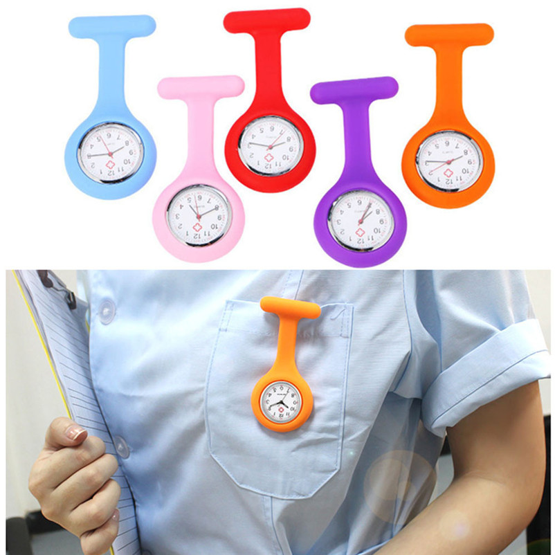 Pocket & Fob Watches Fanala Nurses Watches Doctor Portable Fob Watch Brooches Silicone Tunic Batteries Medical Nurse Watch Quartz With Clip 14 Colors
