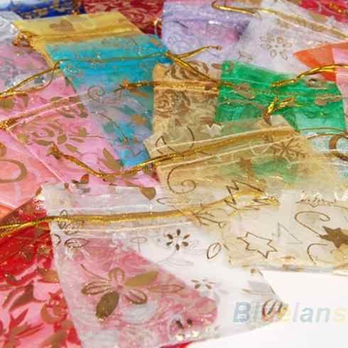 25 قطعة/المجموعة اورجانزا مجوهرات الزفاف حقيبة هدايا حقائب 7x9 سنتيمتر 3X4 بوصة لون المزيج ل حزب عطلة السنة الجديدة استخدام 08KY