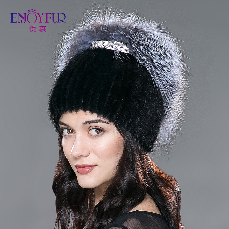 Women winter mink fur hat real knitted mink silver fox fur caps female russian warm beanies hat 2018 brand new women's fur hat