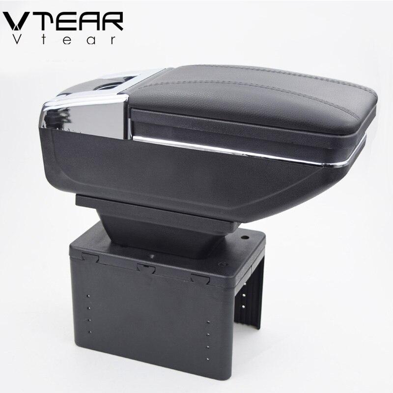 Vtear universal car central contenedor caja apoyabrazos PU auto car-styling central almacenar contenido caja portavasos Accesorios