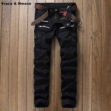 Tide марка молодых мужчин Мульти-карман ноги качества хлопок брюки Корейский стиль тонкий прямой мода повседневная джинсы мужчин Черный 29-38
