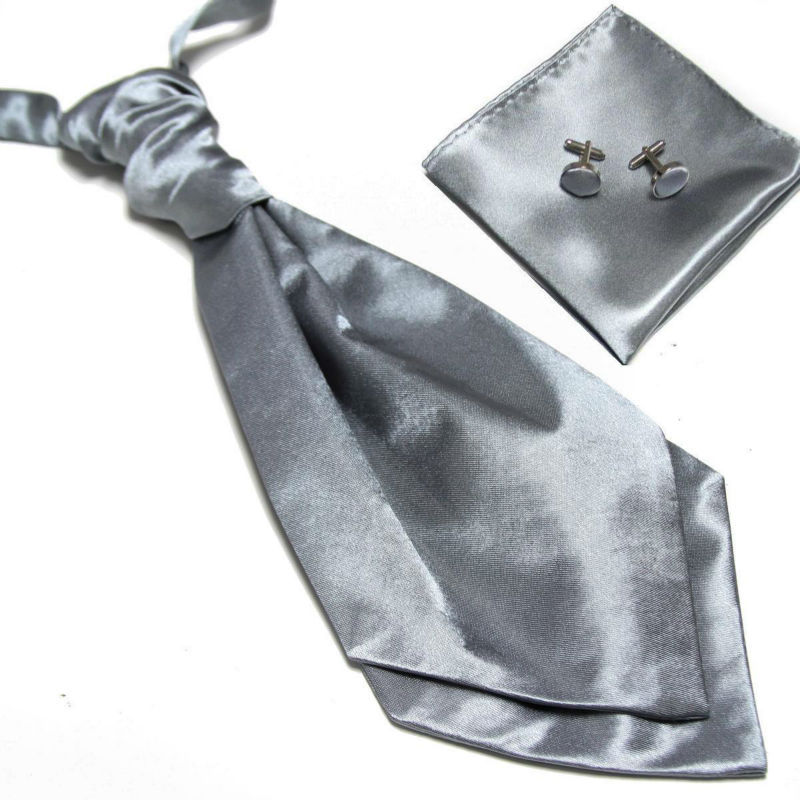 HOOYI 2019 Cheap Solid Men's Neck Tie Set Hanky Cufflinks Fashion Necktie Cravate Ascot Neckwear Neckcloth Pocket Square