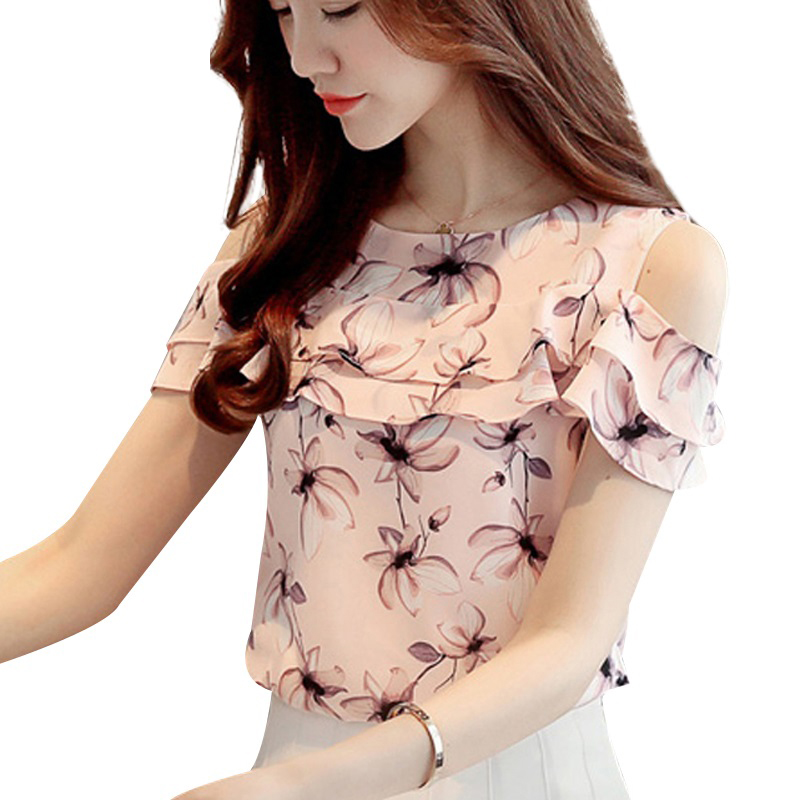 Women Chiffon Blouses Shirts Summer Floral Print Off Shoulder Tops Fashion Ladies Short Sleeve Blusas Casual Female Clothing