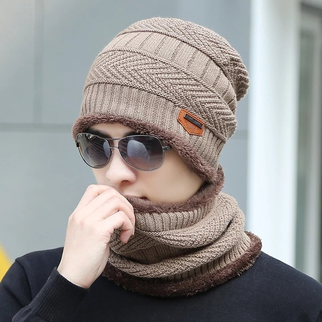 Мужчины вязать шарф cap грелки шеи Шапочка Флис Вязать Капот Шляпа Зимние Шапки Для Мужчин и женщин Шапки