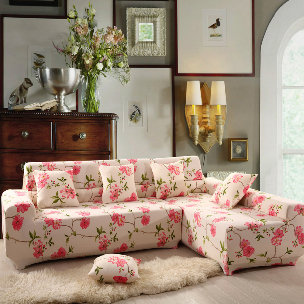Yazi vintage pink flower stretch 1 2 3 4 seater sofa couch for Where can i buy a sofa