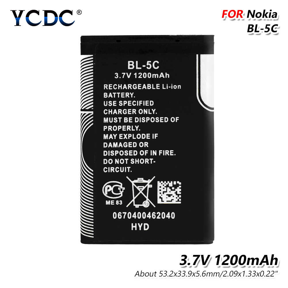 3.7V 1200mAh BL-5C Battery BL5C BL 5C Mobile Phone Bateria Replacement For Nokia 2112 2118 2255 2270 2280 2300 2600 2610 3125