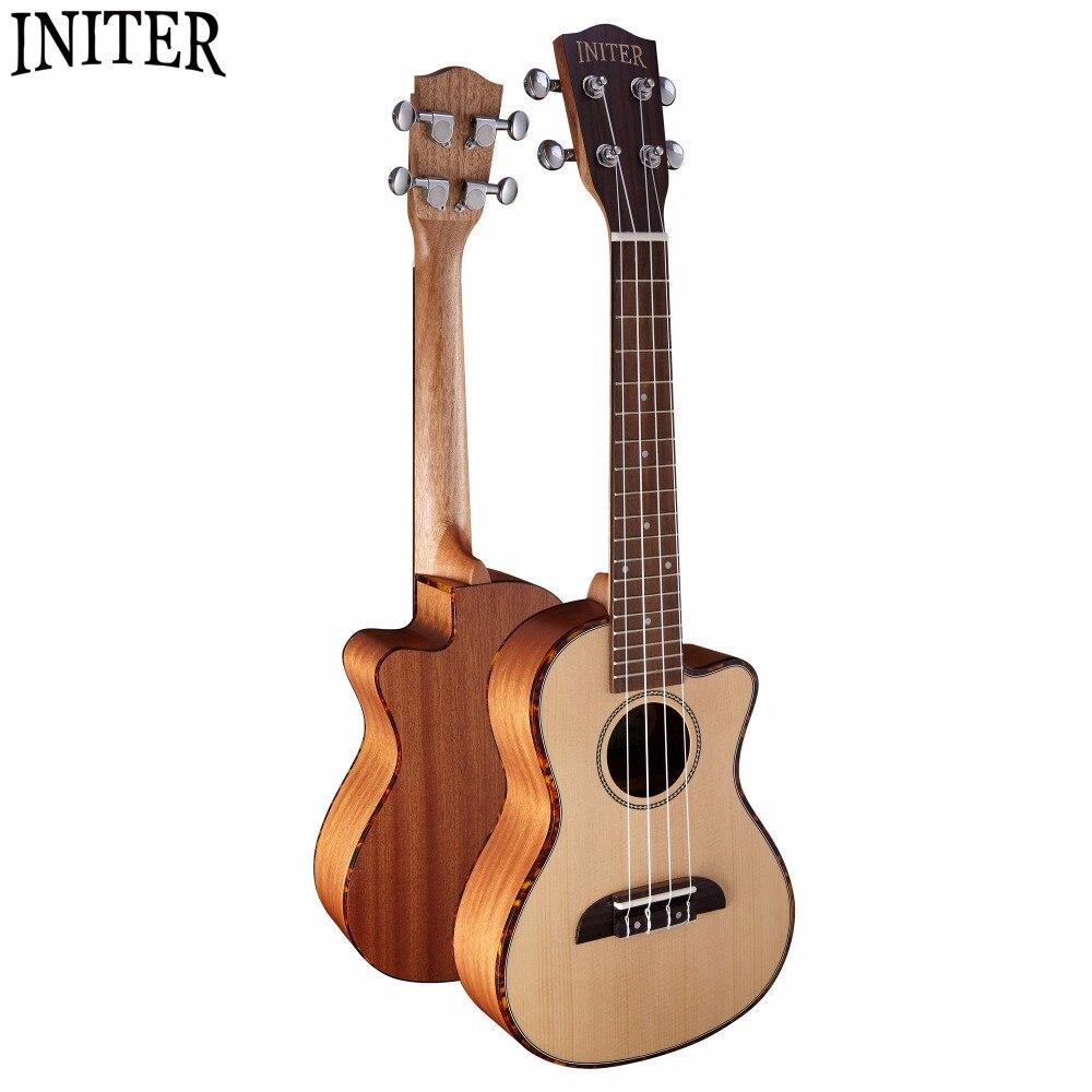 Initer Concert Ukulele 23 inchuke Solid Spruce Top Rosewood Fingerboard Sapele Back Side  18 Fret  IUC-180 magnum live in concert
