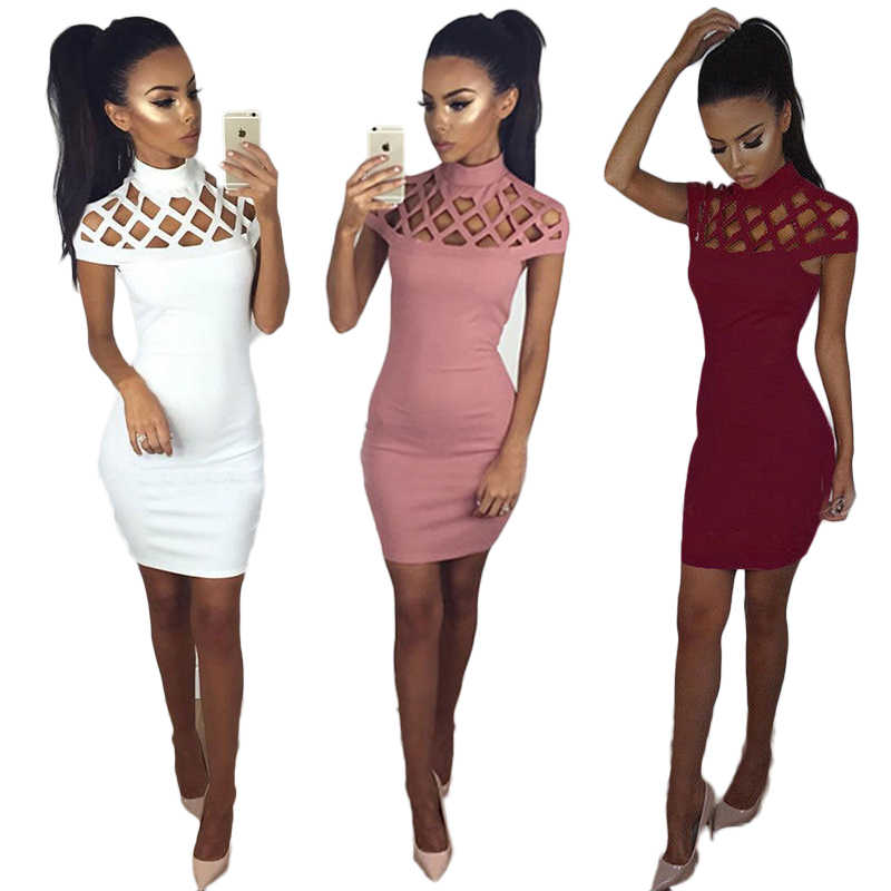Hot Fashion Phụ Nữ Sexy Hollow Out Rắn Cao Cổ Ăn Mặc Ladies Bodycon Slim Ngắn Tay Áo Evening Đảng Pencil Mini Dress