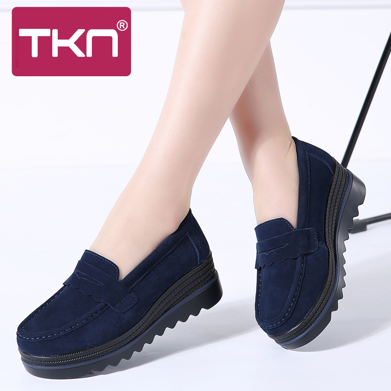 2019 Spring Women Flats Shoes Slip on Lightweight Platform Sneakers Woman Loafers   Leather     Suede   Thick Soles Chaussure Femme 8775