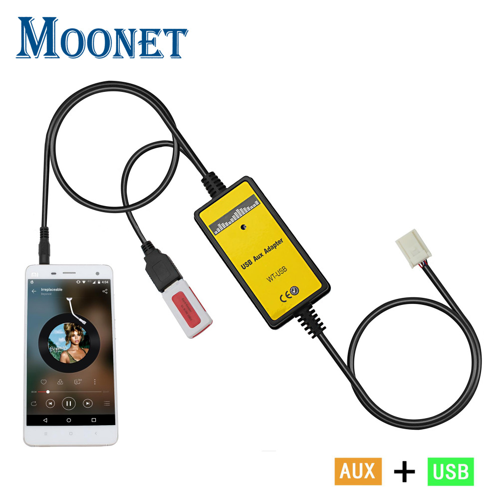 Moonet Car MP3 USB AUX Adapter 3.5mm Interfejs AUX zmieniarka CD dla Toyota Avensis RAV4 Auris Corolla Venza Yaris Lexus QX005